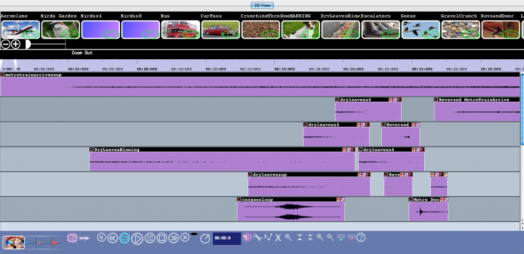 This is a picture of the session in the Compose With Sounds software. This is how it looks like to edit and combine sounds)